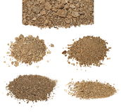 Set pile dry dirt isolated on white Royalty Free Stock Images