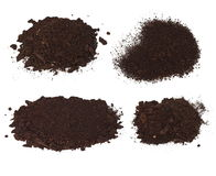 Set pile heap of soil humus isolated Stock Photo