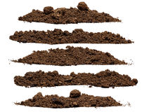 Set pile of soil. Isolated on white background Royalty Free Stock Photography