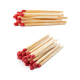 Set of Pile of Wooden matches isolated over the white background Royalty Free Stock Image