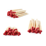 Set of Pile of Wooden matches isolated over the white background Stock Photo