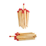 Set of Pile of Wooden matches isolated over the white background Stock Photography