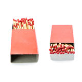 Set of Pile of Wooden matches isolated over the white background Royalty Free Stock Images