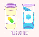 Set of pill bottles. Flat line icons on pink background. Pills jars for tablets. Medical containers. Vector illustrations Royalty Free Stock Photos