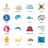 Set of pillow, bike shop, royal lion, motorcycle club, yoga studio, sharks, disabled, 3 triangle, spike icons. Set Of 16 simple editable icons such as pillow Royalty Free Stock Photography
