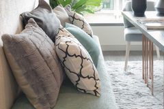 set of pillows on luxuty sofa in living room Royalty Free Stock Photos