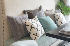 set of pillows on luxuty sofa in living room Royalty Free Stock Image