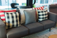 Set of pillows on luxuty sofa in living room, interior design Stock Photos