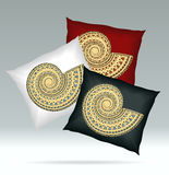 Set Pillows with ornament shell red white black colors Royalty Free Stock Image