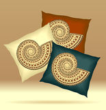 Set Pillows with ornament shell yellow brown dark blue  colors Royalty Free Stock Photo