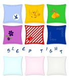 Set of pillows, vector. Set of pillows with various design, vector format Royalty Free Stock Photos
