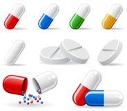 Set of pills. Set of medical icons, illustration Royalty Free Stock Image