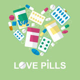 Set of pills in the form heart for your advertising. Vector Royalty Free Stock Photo