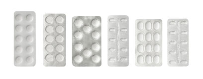Set of pills in a plastic blister package Royalty Free Stock Photography