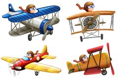 Set of pilot riding classic plane. Illustration vector illustration