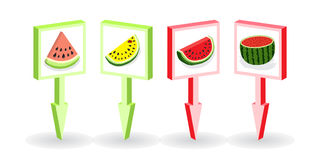 Set pin location map vector, marker, direction on watermelon subject. Concept of Hello Summer. Vector illustration. Set pin location map vector, marker Royalty Free Stock Images