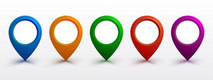 Set pin map marker pointer icon, GPS location flat symbol. – vector royalty free illustration