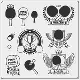 Set of ping pong labels, icons, emblems and design elements.Set of ping pong labels, icons, emblems and design elements. Set of ping pong labels, icons, emblems Royalty Free Stock Photography