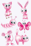 Set: pink animals. Royalty Free Stock Photos
