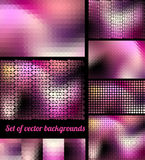 Set of pink backgrounds. With effect of raster and pixels dots royalty free illustration