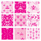Set of Pink backgrounds with Princess crowns. Seamless backdrop. Patterns for girls design stock illustration