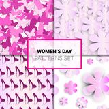 Set Of Pink Backgrounds Seamless Patterns For Womens Day Holiday Beautiful Flower Ornaments Collection. Vector Illustration vector illustration