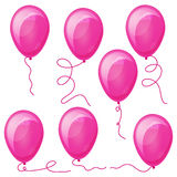 Set of Pink balloons with strings.  Stock Photography