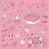 Set pink birthday party Royalty Free Stock Image