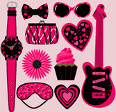 Set of 10 Pink and Black Items Stock Photo