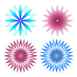 Set of 4 Pink and Blue Abstract Flowers Stock Photos