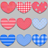 Set of pink and blue hearts made of cloth Royalty Free Stock Images