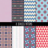 Set of pink and blue patterns Royalty Free Stock Images