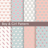 Set of pink and blue seamless patterns. Ideal for baby design. Stock Photos