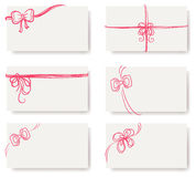 Set of pink bows with ribbons Stock Photography