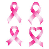 Set of pink breast cancer ribbons vector Stock Images