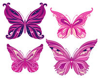 Set of pink butterflies Royalty Free Stock Photo