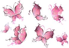 Set of pink butterflies isolated on a white Stock Photo