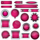 Set of pink buttons Stock Photography