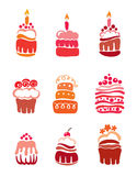 Set pink cakes stock images