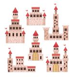 Set of pink castles of fairy tales in white background. Vector illustration Stock Photo