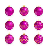 Set of pink Christmas balls with golden pattern Stock Photography
