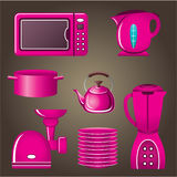 Set pink cookware and kitchen appliances Stock Photo