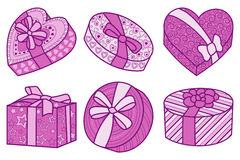 Set of pink and crimson boxes for gifts for any holiday. Vector illustration on white background Royalty Free Stock Photo