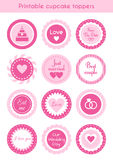 Set of pink cupcake toppers, labels for wedding Royalty Free Stock Photos