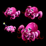 Set pink cute octopuses on a black background Royalty Free Stock Photo