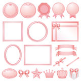 Pink decorations. Set of pink decorations. pink simple frame Royalty Free Stock Photos