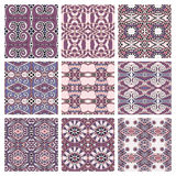 Set of pink different seamless colored vintage Royalty Free Stock Images