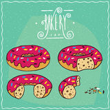 Set of pink donuts in different stages of eating Royalty Free Stock Photography