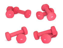 Set of pink dumbbells isolated on white background. Sports Equipment. Royalty Free Stock Image