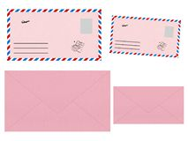 Set of pink envelopes. Mockup. Collection on white background royalty free illustration